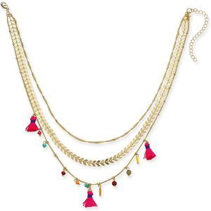 """4/$25 INC Gold Tassel 15"""" Layered Necklace NEW"""